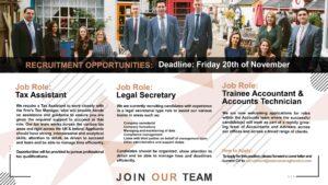November Recruitment – Tax Assistant –  Legal Secretary – Trainee Accountant – Account Technician